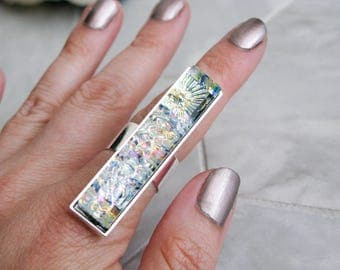 avant garde costume jewelry, gift for her, rectangle glass cocktail ring, large dichroic glass ring, multicoloured glass statement ring