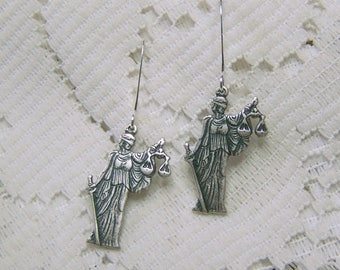 LADY JUSTICE Earrings - Silver Justice - Lawyer - Judge - Law Student Earrings - Roman Greek Latin Law Earrings - Courtroom Legal Profession