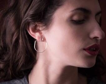 Hope metal earrings - sterling silver post earrings