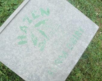 Vintage Porch Milk Box Hazen Green Galvanized Metal