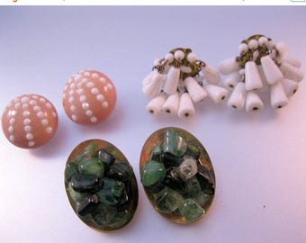 XMAS in JULY SALE Earrings Lot of 3 Pairs Vintage Crafts or Wearable Jewelry Jewellery