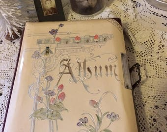 Antique Victorian Celluloid Scrapbook Photo Album with Photos Victorian Decor Display Piece Gift for Her