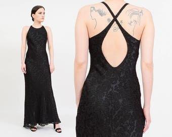 Ralph Lauren Vintage 90s Black Silk Maxi Dress   Sexy Bias Cut Gown   Sheer Burnout Dress   Minimalist Goth Maxi Dress   Small XS S