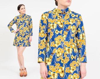 Vintage 60s Floral Mini Dress | Collared Dress | Mod Twiggy Dress | 1960s Wool Micro Mini Dress | Long Sleeves | Blue Yellow Brown | Small S