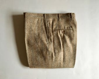 Vintage Men's 80's Striped, Wool Pants, Beige, Straight Leg (W34)