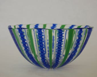 Blown Glass, Blue Twisty and Green Cane Bowl