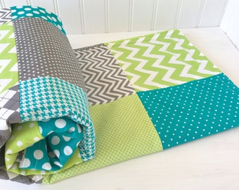 Baby Blanket, Nursery Decor, Minky Blanket, Unisex, Crib Blanket, Chevron Nursery, Teal, Blue, Lime Green, Gray, Grey, Steel, Argyle, Dots