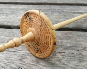 Spalted maple  top whorl spindle id # 7a18s01