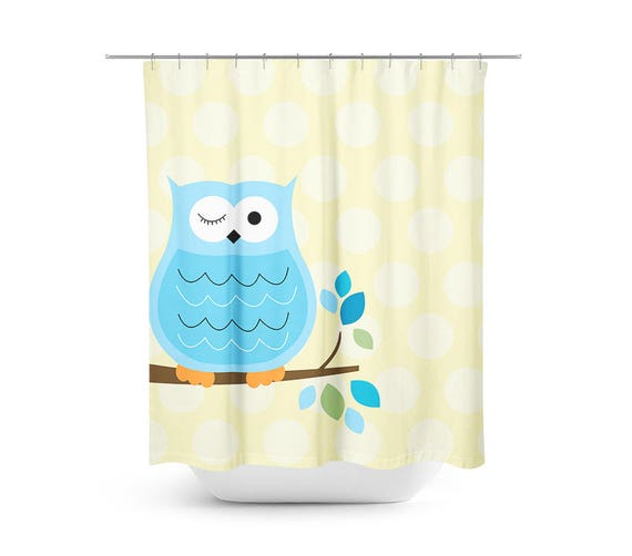 Blue And Yellow Bathroom Decor: Blue And Yellow Owl Shower Curtain, Kids Bathroom, Owl
