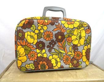 Vintage 1960s Floral 60s Mod Mini Floral Suitcase