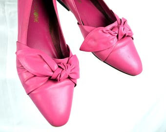 Vintage 1980s Pink Bow Flats - Size 10