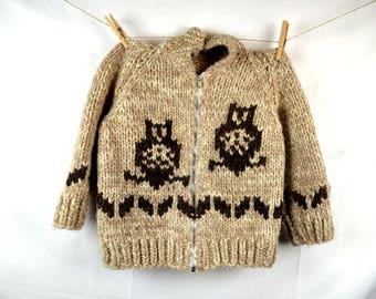 Vintage KIDS SIZE Owl Cowichan Cardigan Wool Sweater