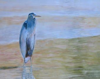 Large original heron bird watercolor  painting, blue heron painting, wall decor, home decor, heron in water original landscape art, bird art
