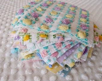 Vintage Chenille Fabric Quilt Squares - 26 - 6 inch squares, ALL Rosebuds - 500-234
