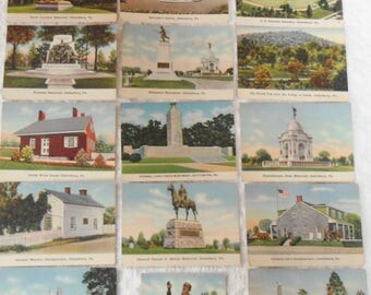Vintage Gettysburg PA Battlefield Lot of 18 Mini Photo Cards