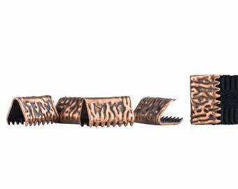 500pcs. 10mm or 3/8 inch Antique Copper No Loop Ribbon Clamp End Crimps - Artisan Series