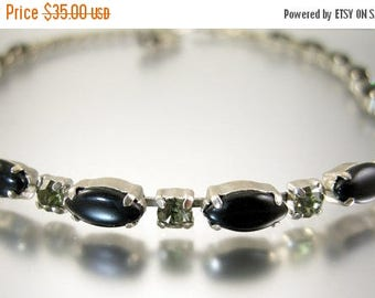 45% off Sale Black Glass and Rhinestone Necklace