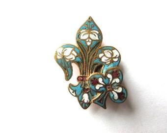 Champleve Enamel Fleur de Lis Clover Sash Buckle Part Guilloche Vintage Victorian Bit Piece Supply