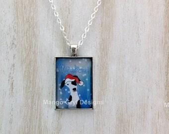Greyhound I Believe Christmas Necklace, Greyhound Necklace, Greyhound Christmas Necklace, Greyhound Jewelry, Greyhound Christmas, Greyhound