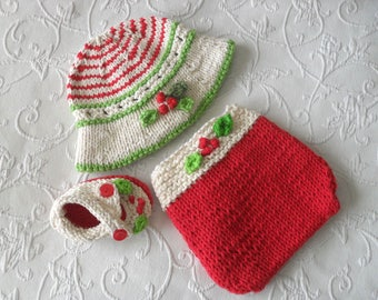 Hand Knitted Baby HAT and  DIAPER COVER Mistletoe Baby Bonnet and matching diaper Cover baby hat Knitted Baby Beanie christmas Baby hat