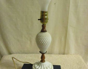 Milk Glass Table Lamp Hobnail swirl footed Base