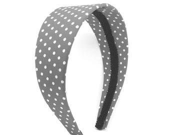 Gray and White Polka Dot Headband - Big Girl Headband, Adult Headband - Choose headband width - wide, average, narrow or skinny