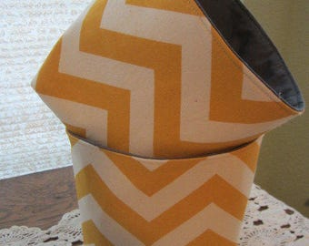 Mini Baskets Fabric Storage Organizer Bins - Chevron Yellow Zig Zag - Tissue Holder -