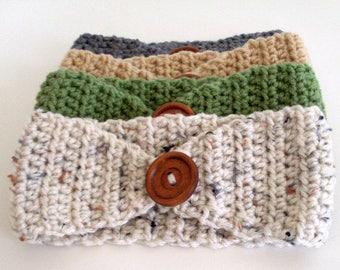 Ear Warmer, Crochet Headband, Head Wrap, Baby Girl, Headband with button