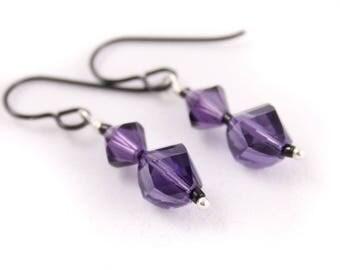 Purple Velvet Crystal Earrings, Black, Dangle, Niobium, Swarovksi Helix Beads
