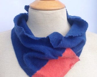 SALE Handmade royal blue and orange soft warm cashmere scarflette neck warmer with button details. Upcycled. Felted wool. Winter wear.