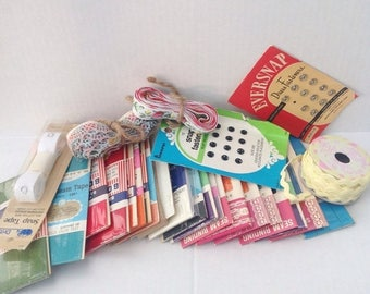 SALE Large lot of vintage notions.  Binding, trim, and more. Sewing. Crafting. Craft supplies.