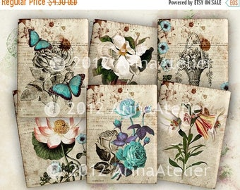 SALE - 30%OFF - Vintage Flora Tags - ATC cards - Backgrounds - Digital Collage Sheet - 2,5x3,5 tag