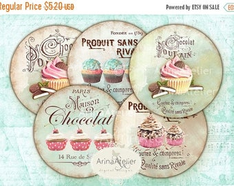 SALE 30%OFF - Shabby chic Sweets Circles Micro slides - 2.5 inches - digital collage sheet - pocket mirrors, tags, scrapbooking, cupcake top