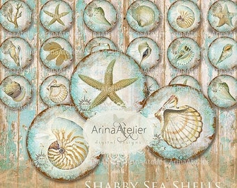SALE 30%OFF - Shabby Sea Shells 1 inch Circles - Digital collage Sheet - Digital Circles - Digital Collage Sheet for ears, Bijoux Circles -