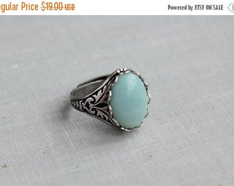 VACATION SALE- Amazonite Ring. Antique Silver or Antique Brass