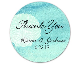 Personalized Beach Wedding Stickers - Favor Stickers - Custom Wedding Labels - Thank You Stickers - Shell Labels - Beach Wedding Stickers