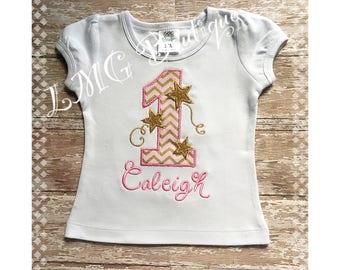 Personalized Twinkle Twinkle Little Star Birthday Shirt - Star Birthday Shirt Applique Shirt - Twinkle Star Birthday shirt- First birthday