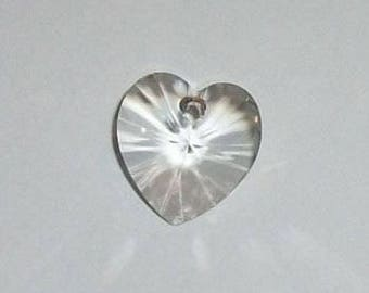 Clearance -- 2 Swarovski Heart Pendant crystal bead 10mm HEART -- SILVER SHADE