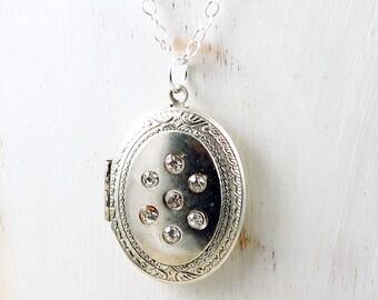 Vintage Silver Locket,  Rhinestone Locket, Photo Locket, Oval Locket, Vintage Locket, Valentine Gift for Her