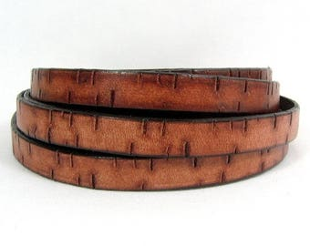 25% Off Bark Leather - 10mm Flat - Tan -10MB3 - Choose Your Length