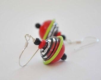 SALE Red & Black Earrings, Hollow Glass Earrings, Glass Bead Earrings, Light Weight Earrings, Striped Earrings