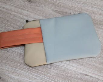 Color Blocked Vegan Leather Wristlet, Salvaged Upholstery Clutch, Large Zip Pouch, Powder Blue with Beige and Coral
