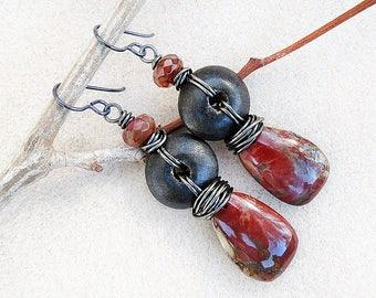 Rustic Boho Earrings, Red Creek Jasper, Agate, Wood, Hypoallergenic, Non-allergenic, Niobium Ear Wires, Organic Dark Brown Red, Handmade