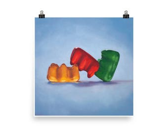 Gummy Threesome - Art Print from original oil painting, realism, kitsch, sex, fun, silly, humor, sassy, playful, adult, polyamory, funny