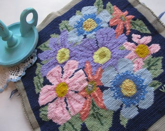 Reduced, Needlework, Flowers, Canvas, Handmade, Supplies, Home Decor, by mailordervintage on etsy