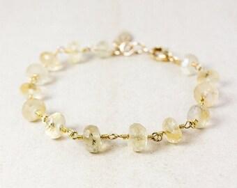 ON SALE Golden Rutile Quartz Charm Bracelet – Choose Your Charm – Gold Plated