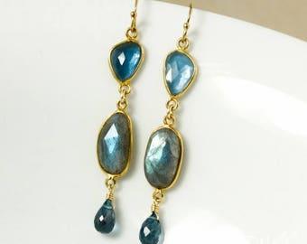ON SALE Gold Free Form London Blue Topaz & Blue Labradorite Dangle Earrings - 14Kt Gold Filled
