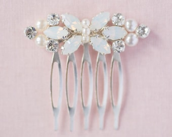 Bridal comb / bridesmaids comb / wedding comb / hair accessory / white opal / mini goddess