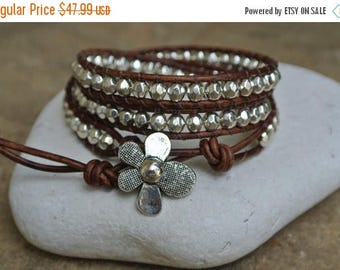SALE 60% OFF Fleur Silver Pewter Beaded Natural Leather Wrap Bracelet
