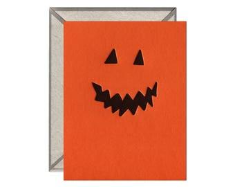 Jack O' Lantern Halloween Letterpress Card - single